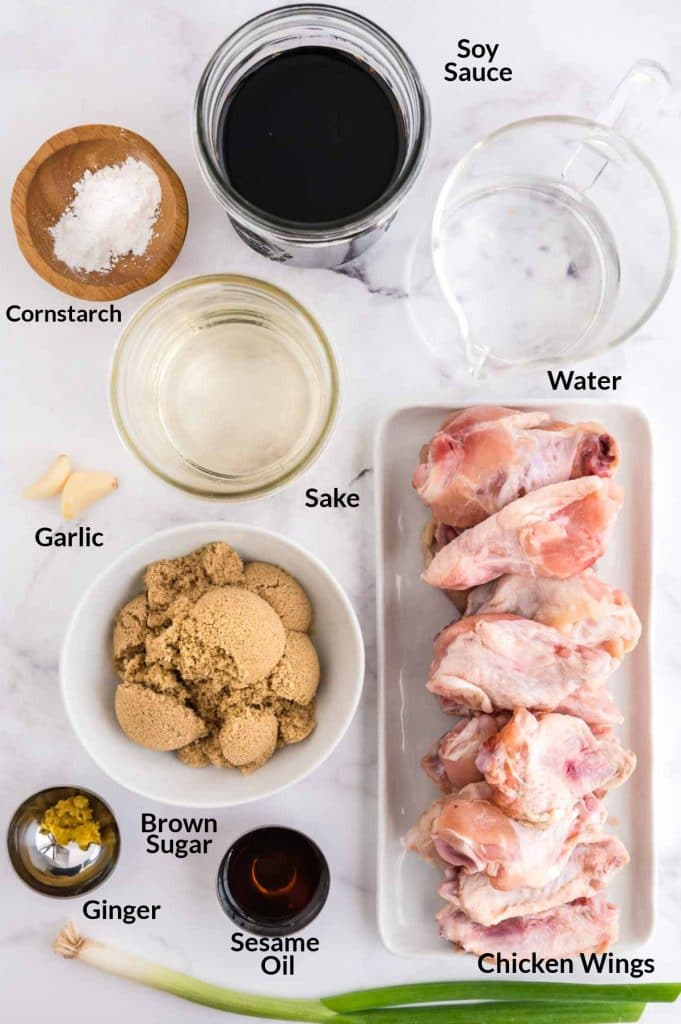 ingredients for teriyaki chicken wings on a table