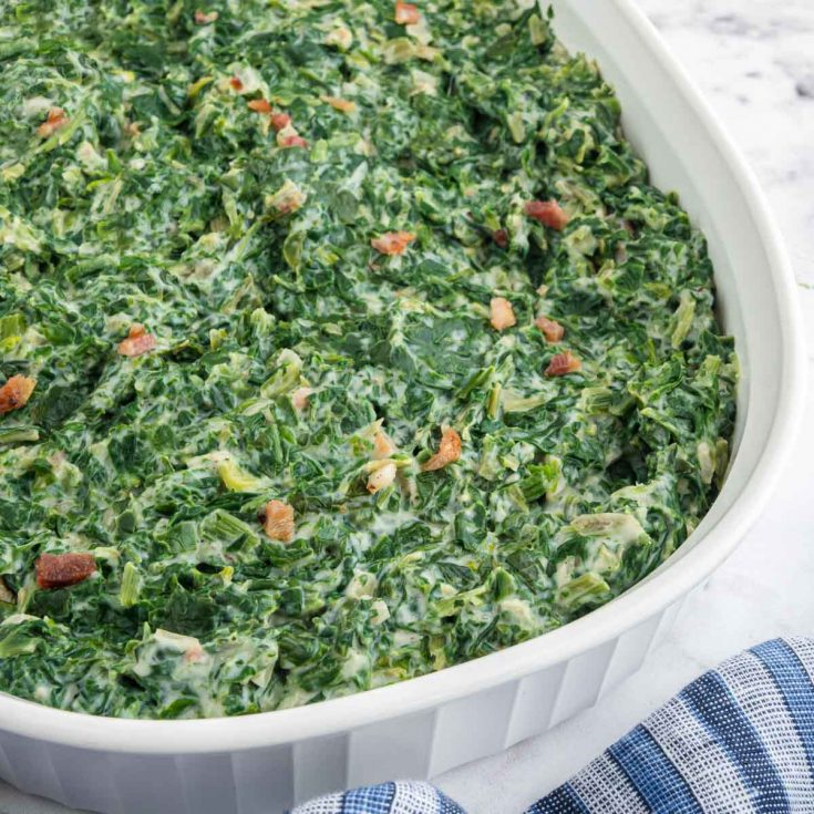 serving plate of creamed spinach