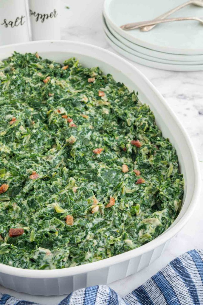 serving bowl of creamed spinach