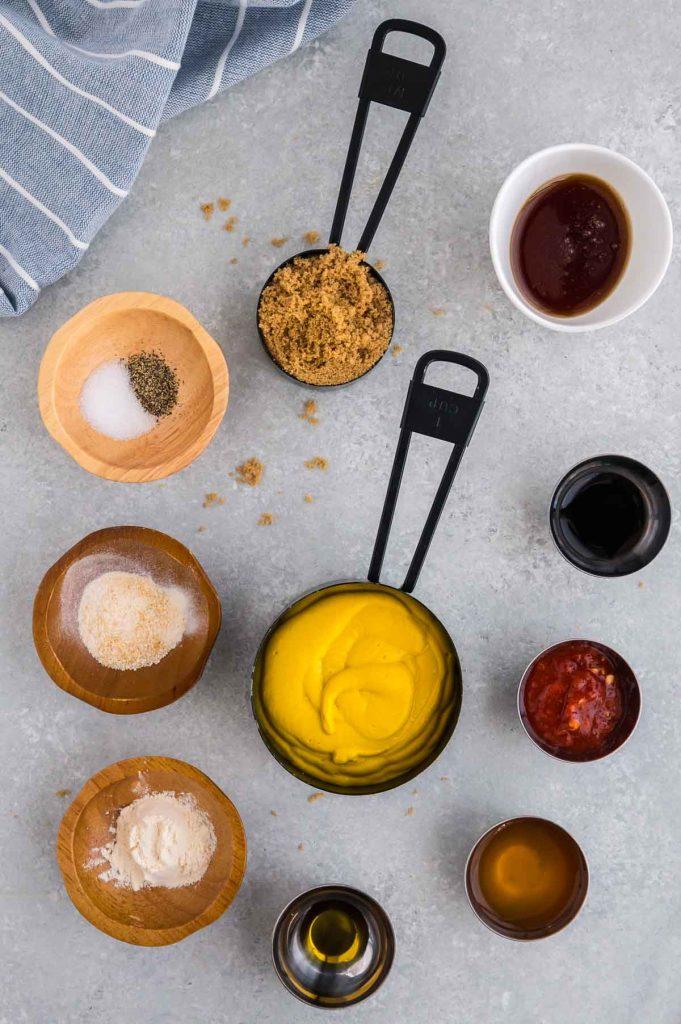 ingredients to make mustard BBQ sauce