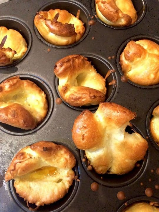 pan of freshly mad Yorkshire puddings