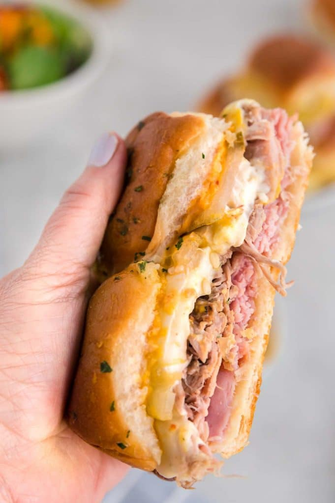 Handful of juicy, melted Cubano Slider
