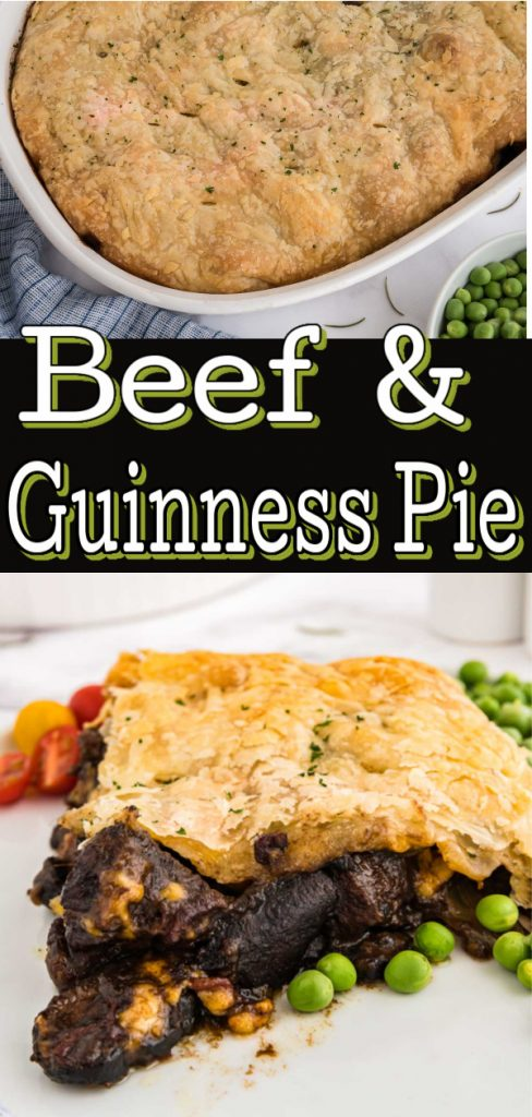 pinterest image of beef and Guinness Pie
