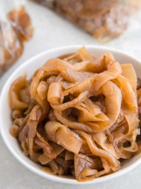 bowl of caramelized to golden brown onions