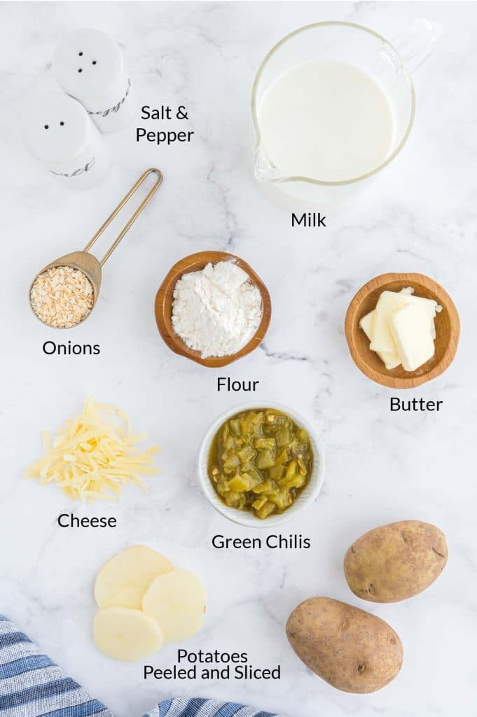 all the ingredients to make southwest style scalloped potatoes