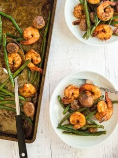 Southern shrimp and vegetables on a plate