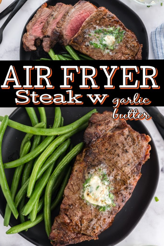pinterest image with a steak out of the air fryer machine