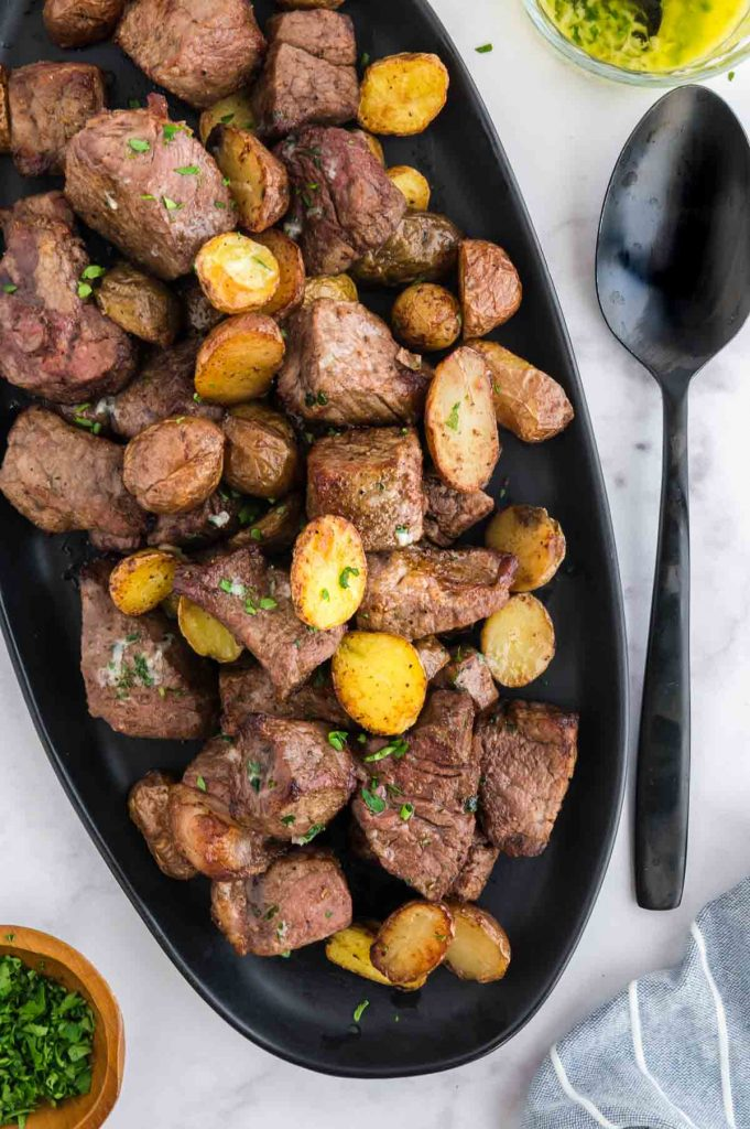 Serving Plate of beef tips