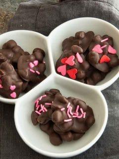 bowl of valentine peanut cluster candies