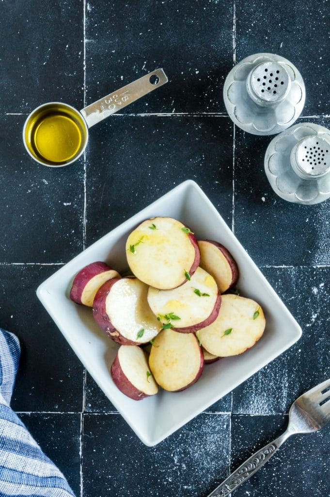 marinated potatoes in a bowl