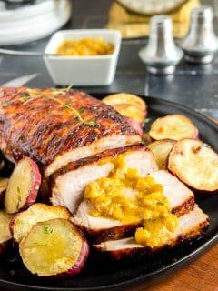 buffet plate of air fryer pork tenderliing