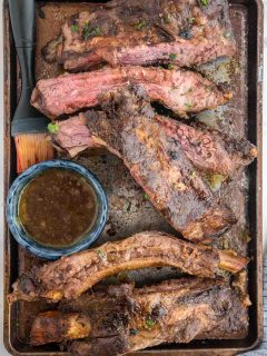 tray of cut beef back ribs off the grill