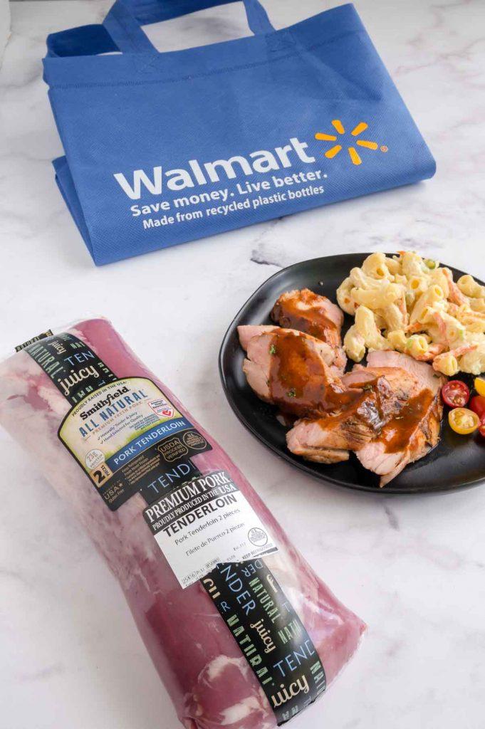 Walmart bag, Smithfield pork and a plate of prepared pork tenderloin