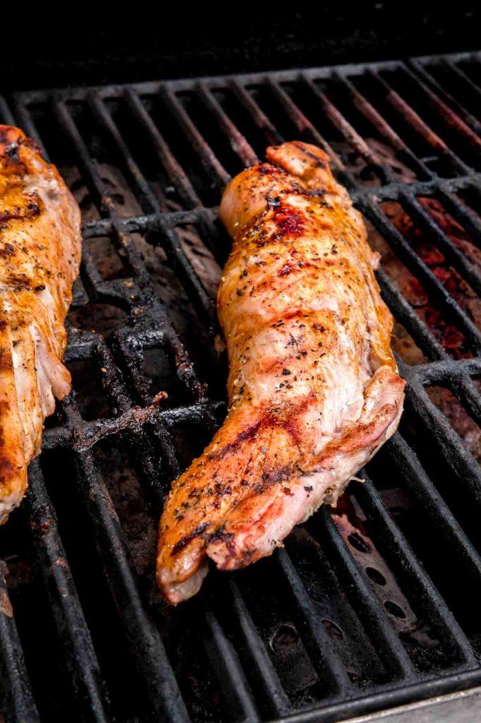 grilling tenderloin on a hot grill