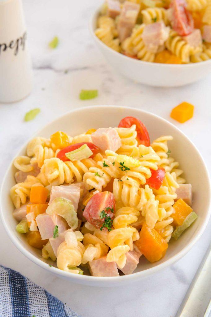 macaroni pasta salad in a bowl