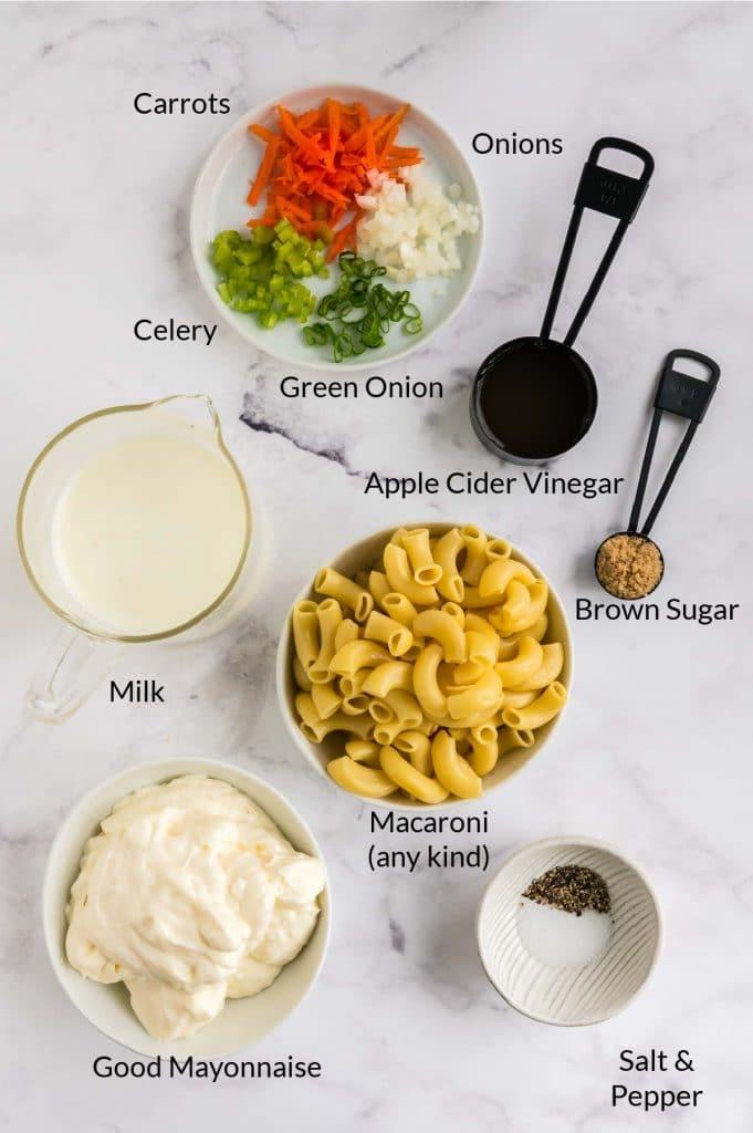 Ingredients to make Hawaii pasta salad
