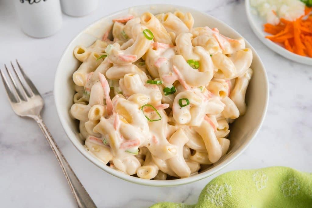 serving up macaroni pasta salad
