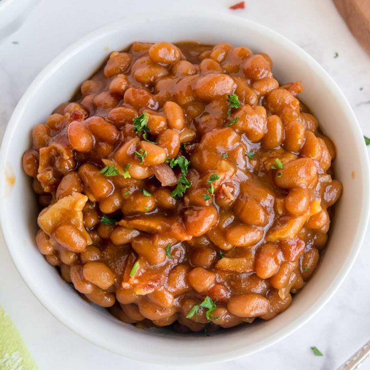 bowl of doctored baked beans for bbq
