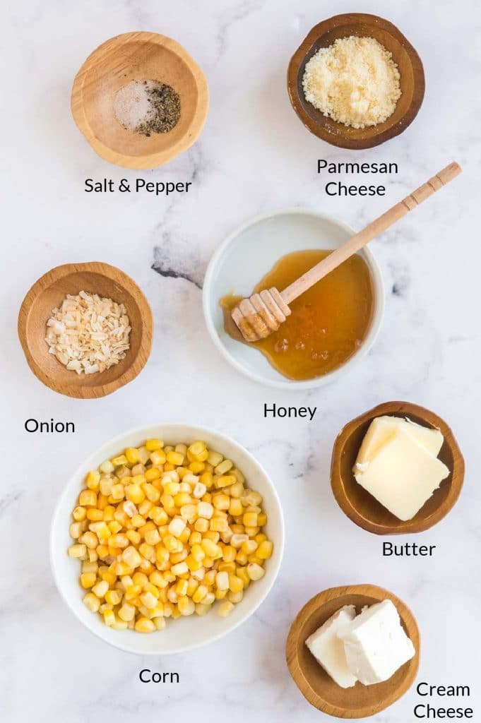 Ingredients to make honey butter corn on a table