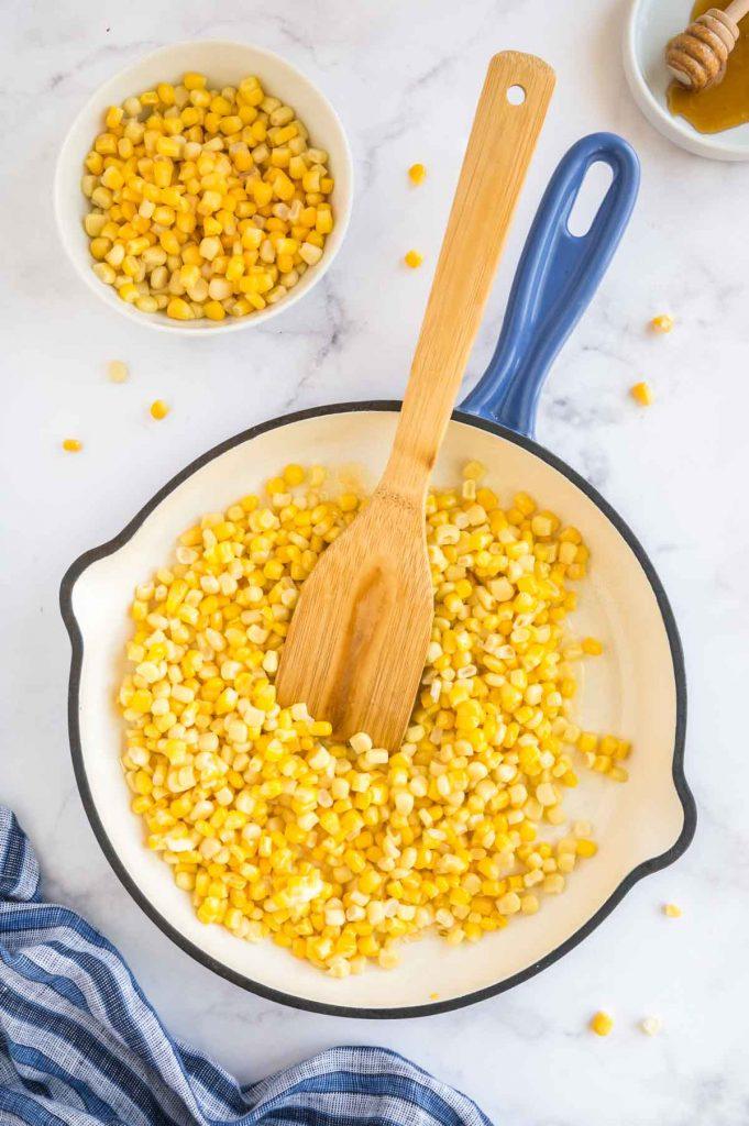 corn in a blue skillet