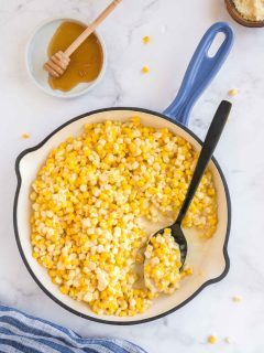 serving honey butter corn direct from he skillet