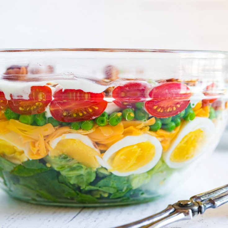 side view of the 7 layers of salad