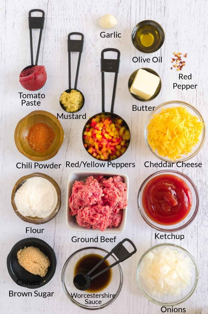ingredients on a table to make the sloppy joe dip