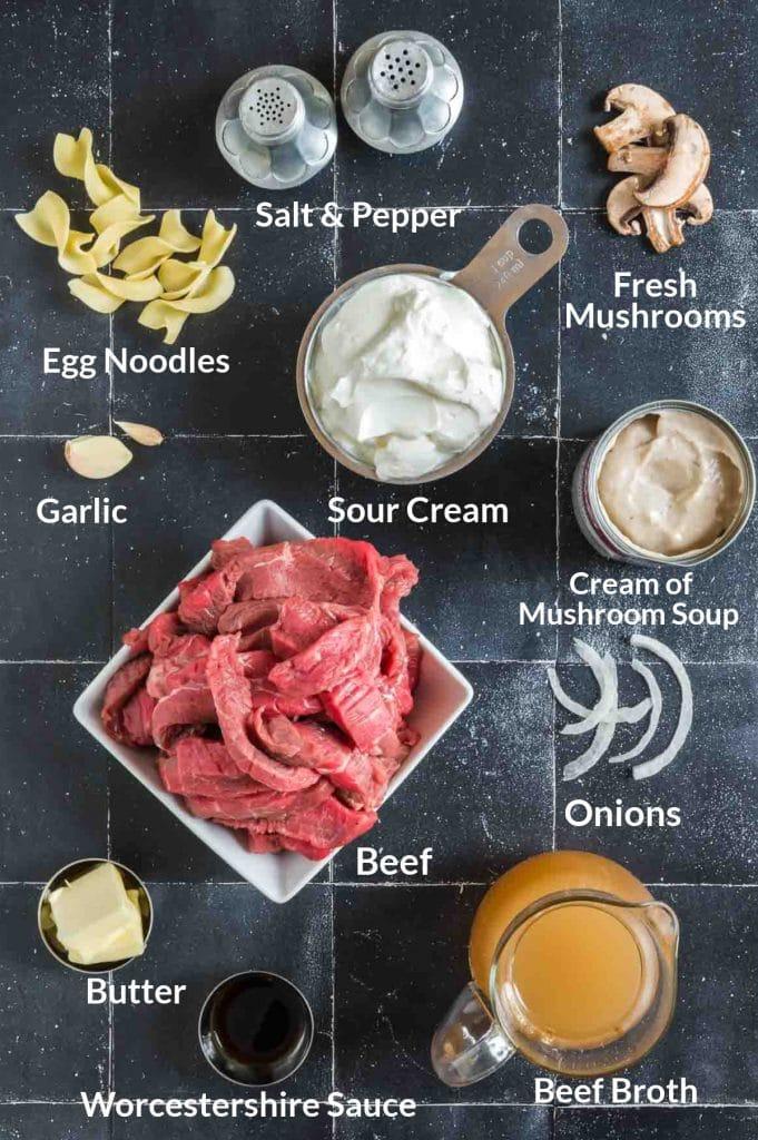 Ingredients for stroganoff on a balck countertop