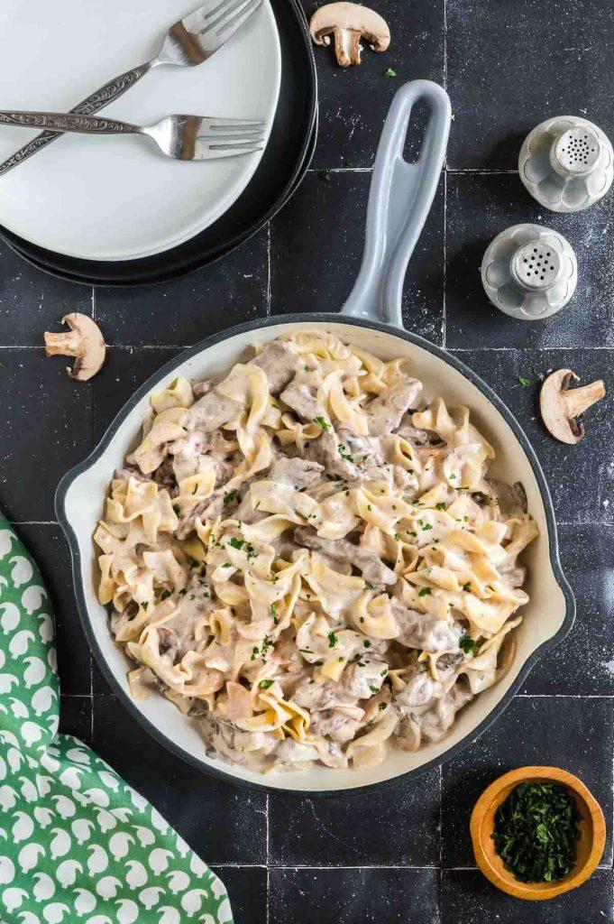 pan of beef Stroganof noodles