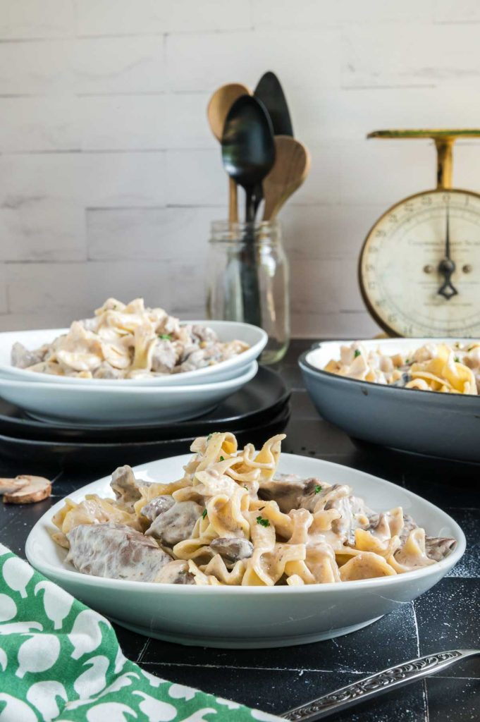 serving bowls toppped with stroganoff