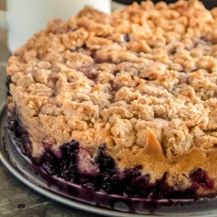 Close up of blueberry cake with streusel topping