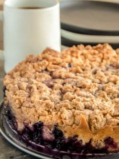blueberry cake on a buffet table