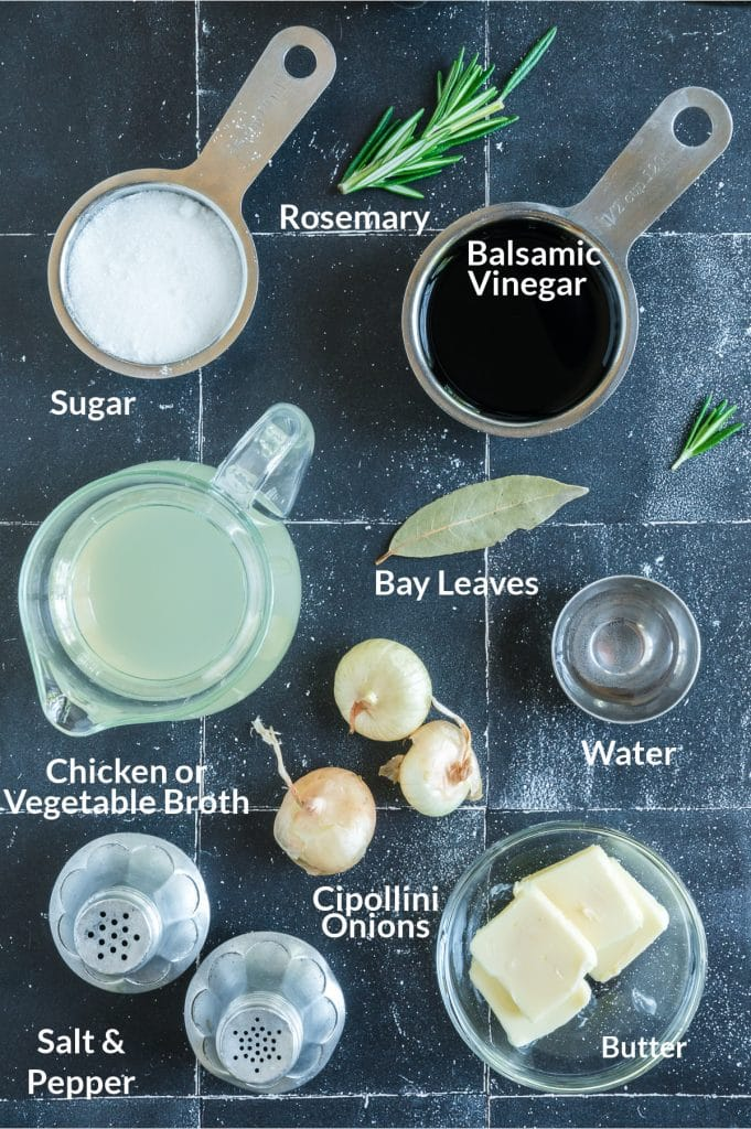 ingredients for balsamic glazed onions