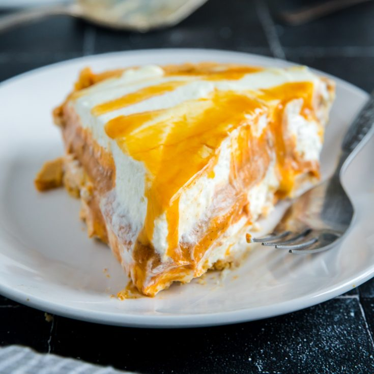 cheesecake layers of pumpkin and whitpped cream
